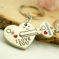 a Pair of Couple Gift Heart Key Keychains