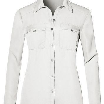 Lightweight Roll Up Long Sleeve Button Down Chiffon Shirt with Pockets (CLEARANCE)