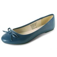 Women's Bow Ballet Flats Iris Round Toe Classic Shoe Real Suede Interior Loafer
