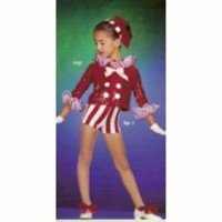 Christmas Candy Cane Dance Costume Santa Hat Shorts Top Tap Adult Medium & Large