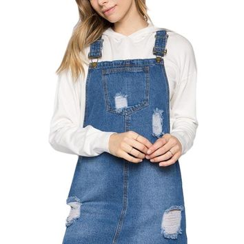 Destroyed Denim Overall Dress