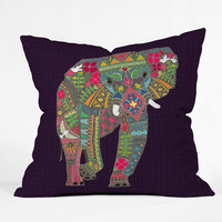 Sharon Turner Painted Elephant Throw Pillow