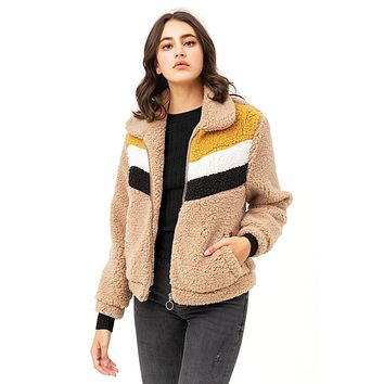 Color Block Teddy Coat