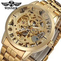 Winner Men's Watch Fashion Business Automatic Analog Dress Stainless Steel Bracelet Brand  Wristwatch Color Gold  WRG8003M4G1