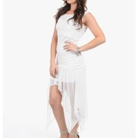 White Show Stopper Sleeveless Asymmetrical Cocktail Dress | $10.00 | Cheap Trendy Club and Party Dr