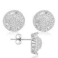 IGI Certified 1ct tw Round and Baguette Diamond Stud Earrings
