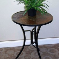4D Concepts Unique and Attractive Slate Round Top Coffee Table
