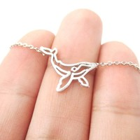 Realistic Humpback Whale Animal Dye Cut Outline Charm Necklace in Silver | DOTOLY