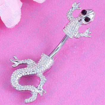 Jeweled Lizard Style Belly Button Ring  Body Piercing Jewelry