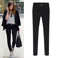Button Front Pencil Pants With Pocket