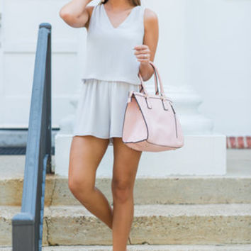 Alone With You Romper, Light Gray