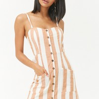 Striped Button-Front Dress