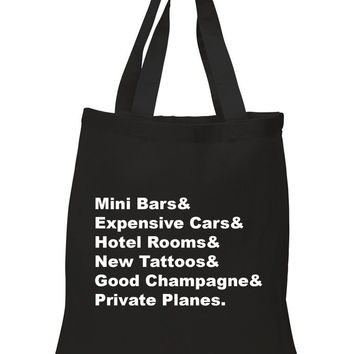 """One Direction """"History - Mini Bars & Expensive Cars & Hotel Rooms & New Tattoos & Good Champagne & Private Planes."""" Tote Bag"""