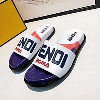 Fendi Fashion New Letter Print High Quality Leisure Slippers Shoes