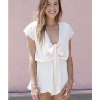 CLARITY PLAYSUIT SHORT SLEEVE - CREAM (online only) - Dresses + Rompers - Shop