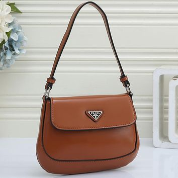 PRADA Women's New Product Pure Color Shopping Tote Triangle Logo Crossbody Bag Brown