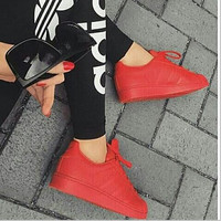 """Adidas"" Fashion Shell-toe Flats Sneakers Sport Shoes Pure color Red"