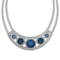 2028 Necklace, Silver-Tone Blue Stone Bib Collar Necklace - All Fashion Jewelry - Jewelry & Watches - Macy's