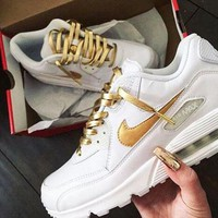 NIKE AIR 90 Fashion Women Men White&Gold Hook Sneakers Leisure Shoes