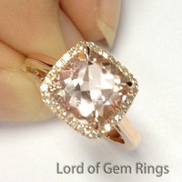 Cushion Morganite Engagement Ring Pave Diamond Halo 14K Rose Gold 8mm