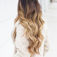 """22"""" Full Head Clip in Dip dye Ombre Hair Extensions Synthetic Straight Curly Wavy 6pcs Set (Col. dark brown to sandy blonde)"""
