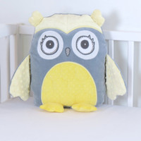Decorative Owl, Gray and Yellow Owl Pillow, Plush Owl, Grey Baby Shower Decor, Yellow and Grey Nursery, Personalized Owl