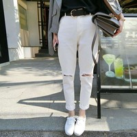 Summer Korean High Waist Ripped Holes Jeans Slim Pants Cropped Pants [8664669383]