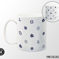 Navy Blue Sailor Patterned Coffee Mug - 11 oz Coffee Mug - Anchor - Sail Boat - Life Presever - True North Compass - Steering Wheel