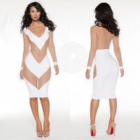 Fashion gauze stitching tight dress 3446190