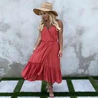Stroll With Me Ruffle Maxi Dress in Brick Red
