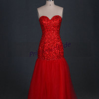 Stunning red tulle prom gowns hot,cheap floor length evening dress with crystals,sweetheart juniors dresses for pageant party.