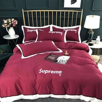 SUPREME&LV LOUIS VUITTON Luxury Designer Bedding Blanket Quilt Coverlet 2 Pillows Shams 4 PC Bedding Set