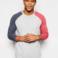 ASOS Longline Long Sleeve T-Shirt With Contrast Raglan Sleeves And Relaxed Fit