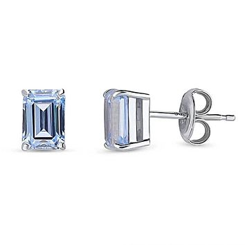 Swarovski Zirconia Emerald Cut Capri Blue Stud Earrings