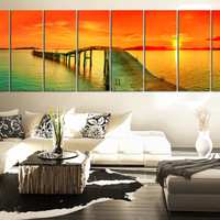LARGE Art Sea and Red Sunset Extra Large Wall Art Canvas Print,  Large Seascape Ocean and Beach Canvas Prints