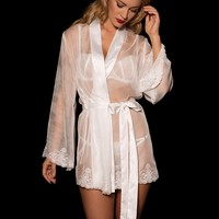 Natalie Ivory Sheer Lace Robe
