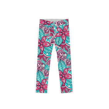 Under The Sea Lucy Cute Green Pink Printed Leggings - Girls