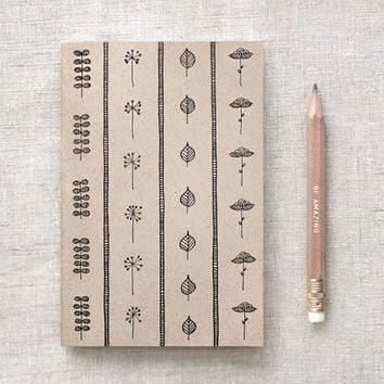Floral Journal & Pencil Set - Recycled Notebook - Brown Notebook, Recycled Floral Journal, Woodland Botanical Illustration