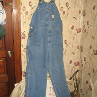 vintage 80s Carhartt faded denim bib coveralls button fly front unisex