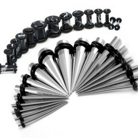BodyJ4You Gauges Kit 36 PiecesStainless Steel Tapers & Marbled Acrylic Plugs 14G 12G 10G 8G 6G 4G 2G 0G 00G