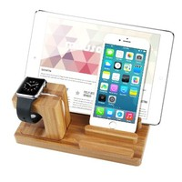 Apple Watch Stand & iPhone Stand & iPad Stand, Bamboo Wood Charging Holder Station Dock for Apple iWatch, iPhone ,IPAD and Samsung Tablet (Bamboo)