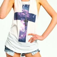 Galaxy Cross Cut Back Tee from CherryKreations21