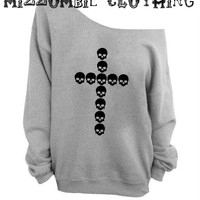GRUNGE SKULL crosses  off the  shoulder sweater, loose fit oversized   mizzombie