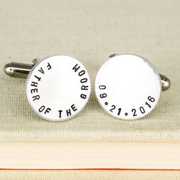Father of the Groom Cuff Links - Gifts for Him - Custom Wedding Date Cufflinks - Aluminum Cuff Links