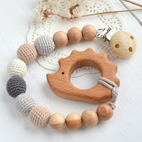 Grey Cream Beige Pacifier Clip Holder with Hedgehog Shaped Pendant - Neutral color - Safe for teething baby - Baby shower gift