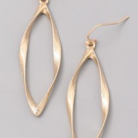 Tapered Oval Drop Earrings - Gold