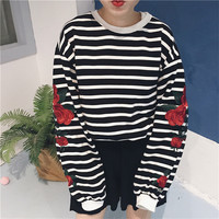 Autumn and winter new women Korean Harajuku ulzzang loose striped flowers embroidery long-sleeved round neck pullover sweatshirt
