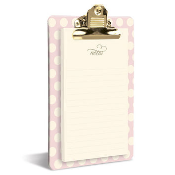 Blush Dots Clipboard & Notepad