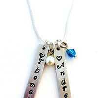 Hand Stamped Custom Vertical Bar Necklace- Mother's Necklace with Children's Names and Birthstones