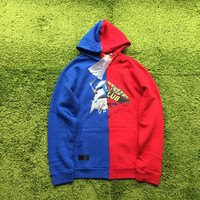 off white X midnight studios red and blue stitching hiphop Women men hoodies sweatershirtt autumn VIRGIL ABLOH